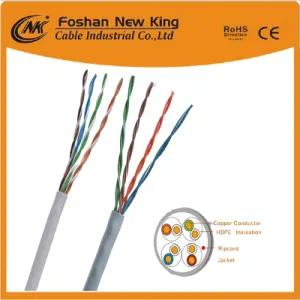 Cable interior UTP / FTP Enthernet LAN CAT6 Cat5e 4X2X23AWG PVC gris